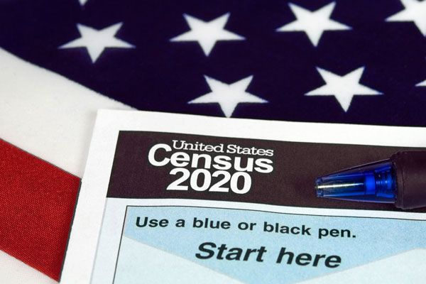Photo: Image of the Census with the American flag under it.