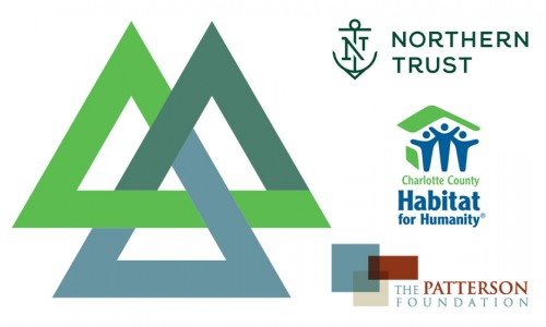 Photo: A triangle with the colors of Northern Trust, Charlotte County Habitat for Humanity, and The Patterson Foundation's logos + the logo of each organization