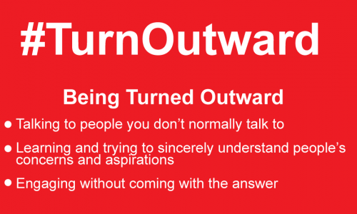 Photo: #TurnOutward with bullet points of examples