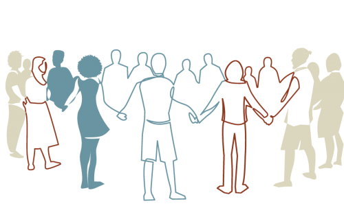 Photo: illustration of a group of people of all ages holding hands in a circle