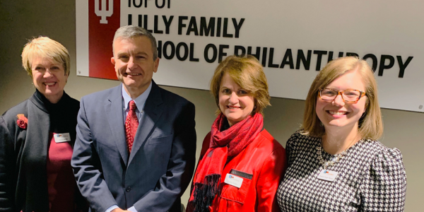 Photo: left to right — Debra Jacobs, Dean Amir Pasic, Laurey Stryker, Hannah Saeger Karnei