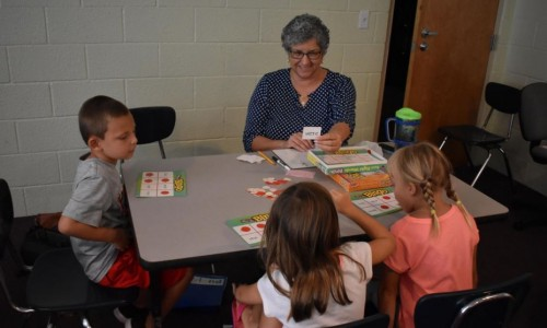 Photo: Amy Morales plays sight word bingo with students