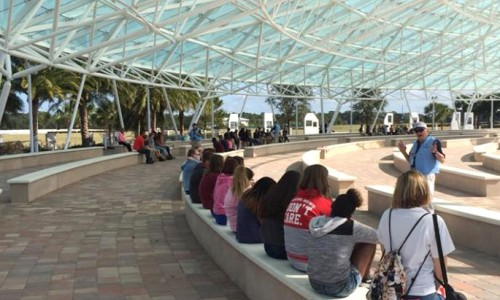 8th-grade Civics students taking a tour of Patriot Plaza