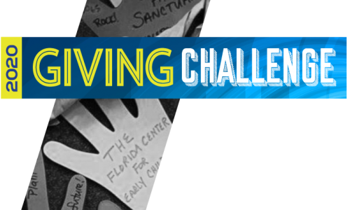 Photo: Giving Challenge logo with background picture of cut out hands
