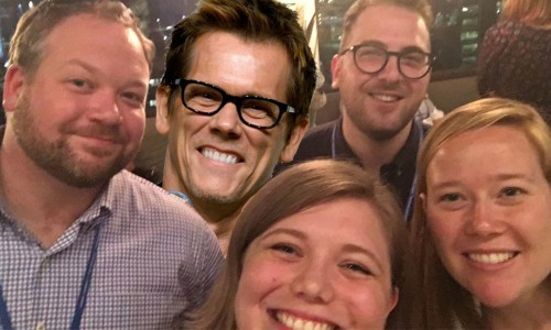 Photo: Hannah Saeger Karnei with new friends and superimposed picture of Kevin Bacon at Exponent CONNECT