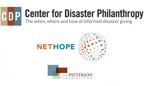 Center for Disaster Philanthropy logo, NetHope logo, The Patterson Foundation logo