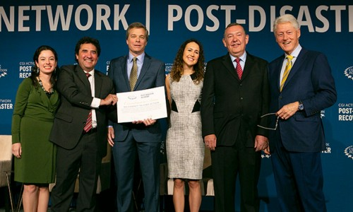 "Photo: NetHope, was formally recognized by the Clinton Global Initiative (""CGI"") Action Network on Post-Disaster Recovery"