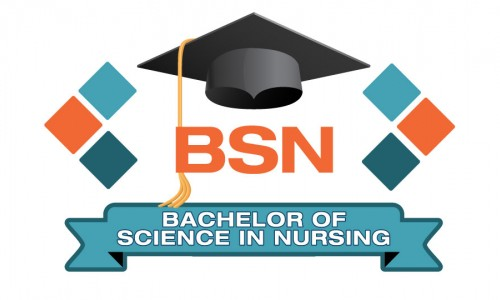 Photo: A graduation cap with letters BSN underneath with a ribbon at the bottom that says Bachelor of Science in Nursing