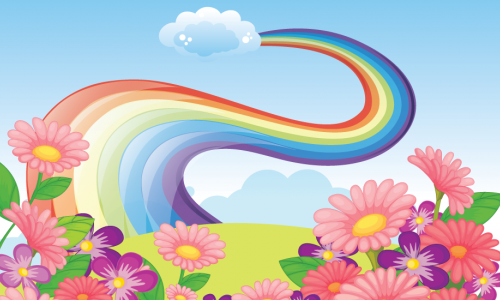 Cartoon image of a sunny day, flowers, and a windy rainbow path that ends at a fluffy cloud in the sky