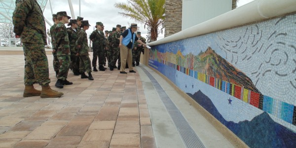 Venice Middle School 'Young Marines' tour Patriot Plaza