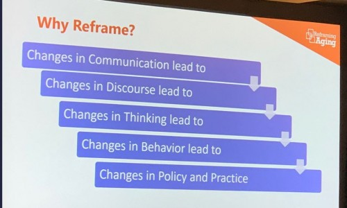 Photo: projected slide from the 2019 Grantmakers in Aging (GIA) Annual Conference  conference.