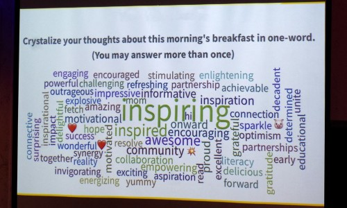 Photo: words descriping how community passionaries at SCGLR's Community Update Breakfast felt about the event