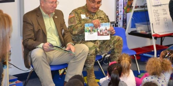 Mission: Readiness members Major General (Ret.) Darren Owens and Brigadier General (Ret.) Joe Ramirez read to pre-K students at a College Station, Texas, school to highlight the importance of quality early education for our future national security.
