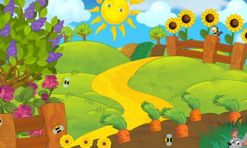 Cartoon image of a sunny day, flowers, a windy road, and a garden with bees, a mouse, and a bird