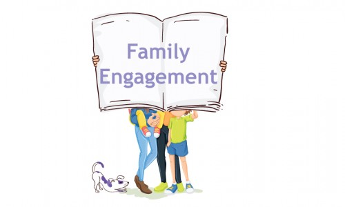 Photo: Illustration of a family holding up an open book that says Family Engagement
