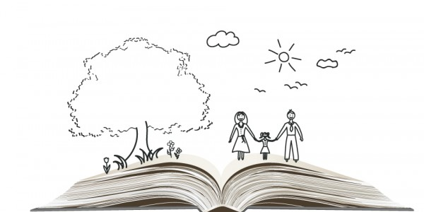 An open book with a drawing of a family walking in nature.