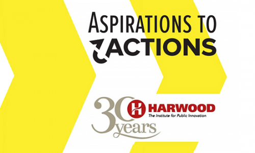 Photo: Aspirations to Actions logo and 30 Years Harwood logo