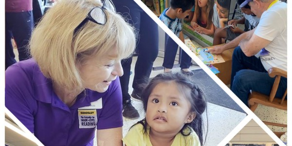 Photo:  Beth Duda, director of the Suncoast Campaign for Grade-Level Reading, reading to a child at the Pop Up Neighbor event in Sarasota