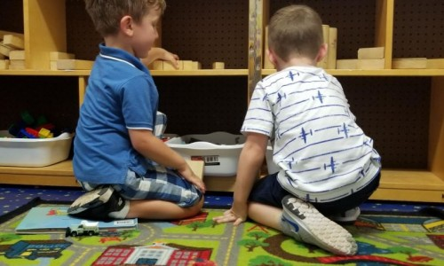 Photo: Pre-K students playing with blocks