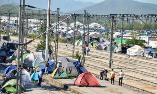 Photo:  Idomeni, Greece, April 15, 2016 - Hundreds of migrants and refugees are camping at the Greek-Macedonian border.