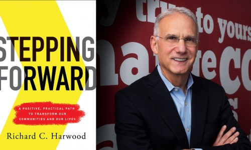Photo: Stepping Forward book cover and picture of Rich Harwood
