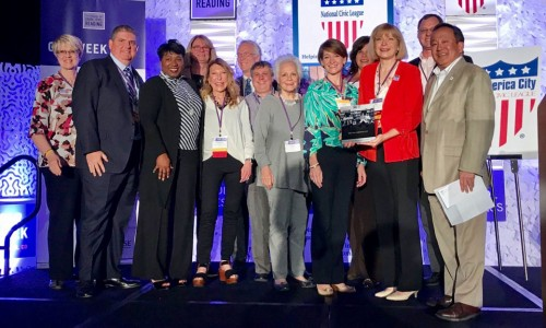 Suncoast Campaign for Grade-Level Reading team accepting the All-America City Award