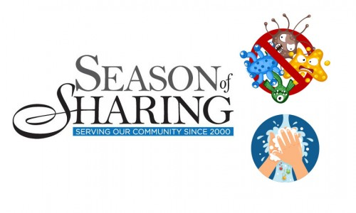 Photo: Season of Sharing logo on the left and a no germs illustration and a wash your hands illustration on the right
