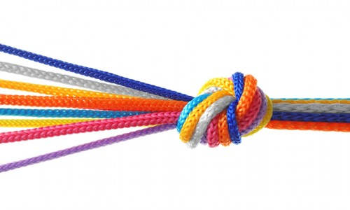 Photo: Colored rope joined together in a knot